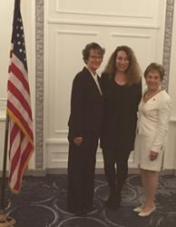 Sue Gilbert (center)  with SEIU International President Mary Henry on her left and Congresswoman Jan